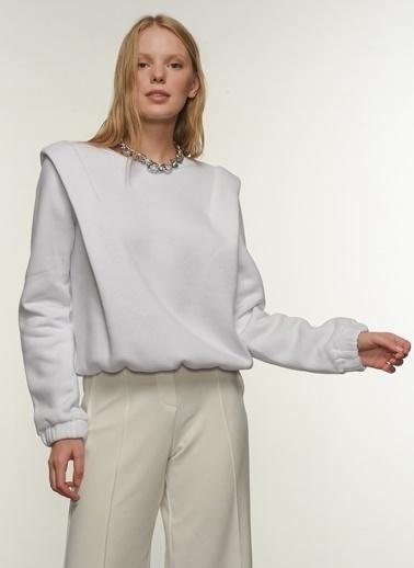 People By Fabrika Kadın Vatkalı  Sweatshirt PFKAW20SW0008 Beyaz